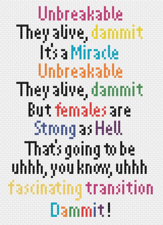 Unbreakable Kimmy Schmidt theme song quote cross stitch pattern
