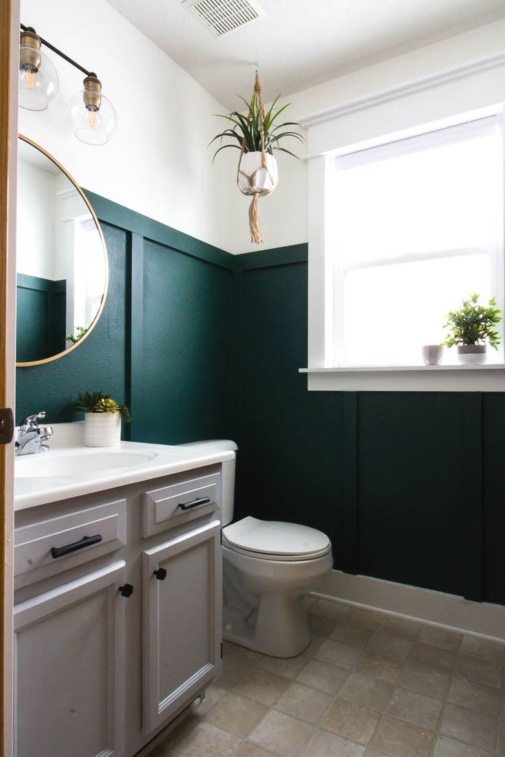 A Modern Bathroom Makeover Featuring Dark Green Walls Brass Fixtures Matte Black Hardware A Painted V Green Bathroom Bathroom Design Small Bathroom Makeover