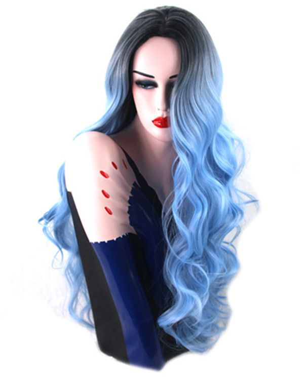 2017 New Ombre Blue Long Wavy Cosplay Wig #1B/Blue Costume Wig For Women