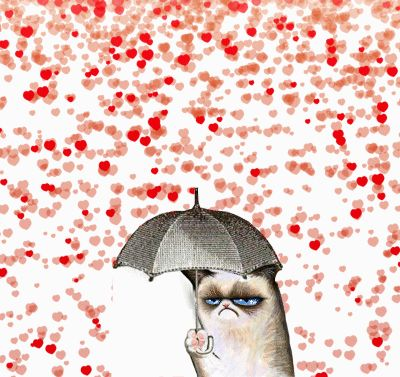 It's raining hearts on Grumpy Cat! Happy Valentine's Day! (It's animated, click to see.)