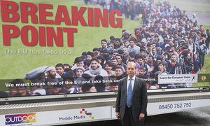Farage's poster is the visual equivalent of Enoch Powell's 'rivers of blood' speech Jonathan Jones Nigel Farage launches Ukip's latest poster