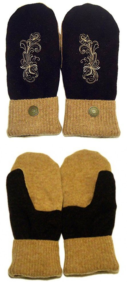 Norwegian Style Sweater Mittens, 100% Wool, Brown and Camel with Polar Fleece Lining, Adult Size Large, Super Thick, Folk Art Motif Embroidery, Metal Button