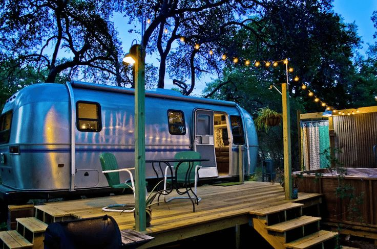 This fully renovated Airbnb airstream is charming, but it's the outdoor shower and hot tub that really make it the perfect Texas getaway.