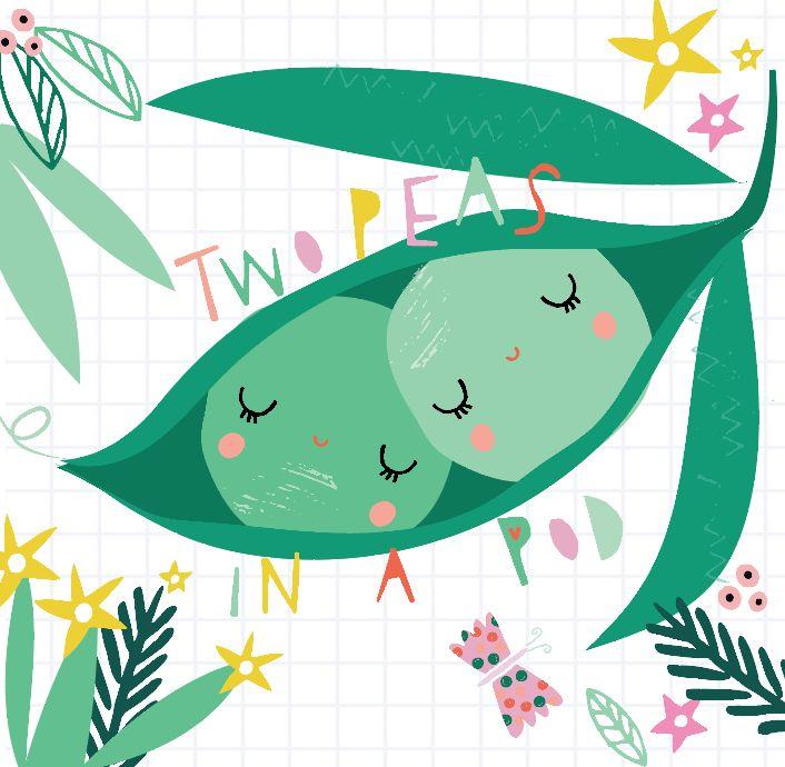 Designed by BettyjoyDesignStudio - Designer Lucia Wilkinson #Valentines #peas #couple