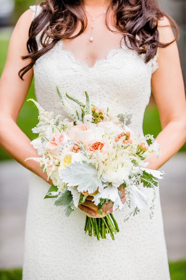 Pastel Bouquet with Dusty Miller Greenery