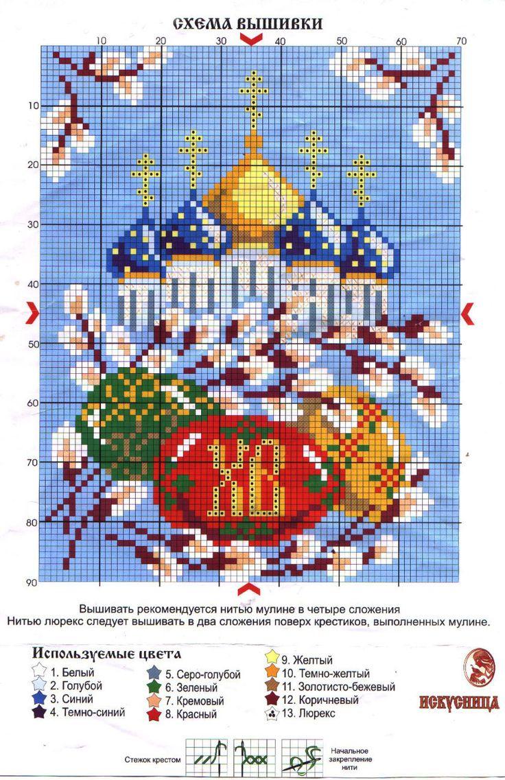 Схема вышивки крестом #православие #пасха #вышивка