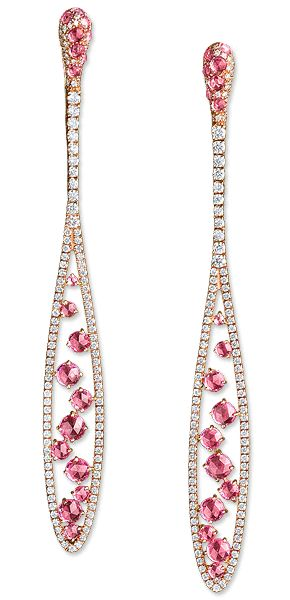 CELLINI-Pink Sapphire and Diamond Elongated Drop Earrings Pink sapphires float…
