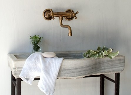 Antique French Antique Basin, unlacquered brass faucet