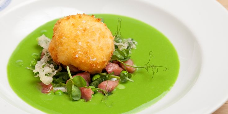 Emily Watkins shares a stunning gammon salad with Great British Chefs, topping with a crispy duck egg and sitting on a vibrant pea soup