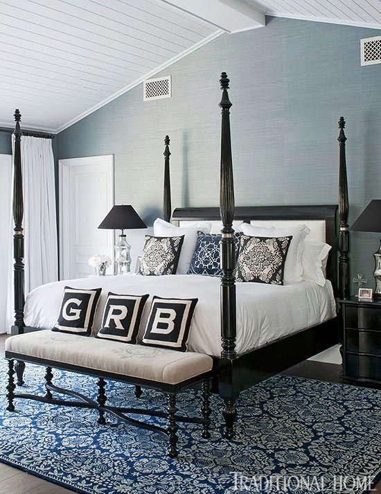 love the black furniture accents up against the slateblue black furniture room ideas