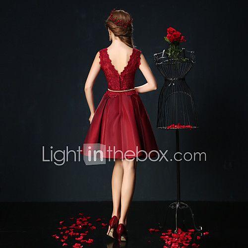 Vestido de partido del cóctel del charmeuse del cordón del cortocircuito del cuello de la joya del vestido de bola 2017 - €75.19