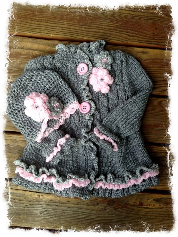 toddler girl sweater and hat. $70.00, via Etsy.