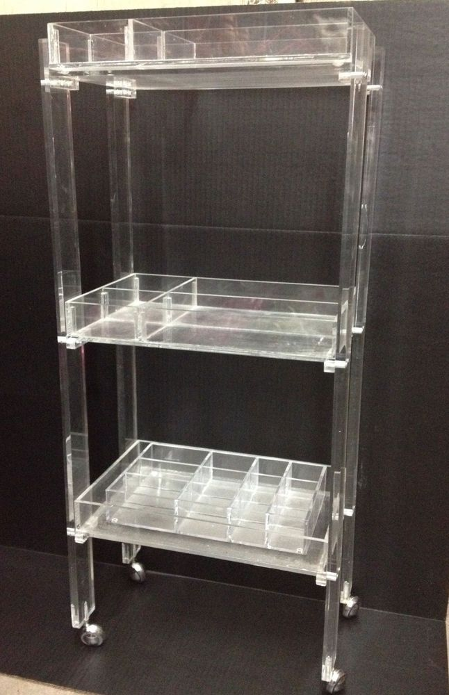 Space Age Mod Organizer 3 Shelf Acrylic Clear Lucite