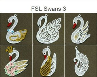 FSL Swans Animals Ornament Free Standing Lace Machine Embroidery Designs Instant Download 4x4 hoop 10 designs APE1721