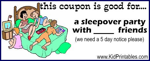 Sleepover Printable Coupons For Kids Fun Kid Printables