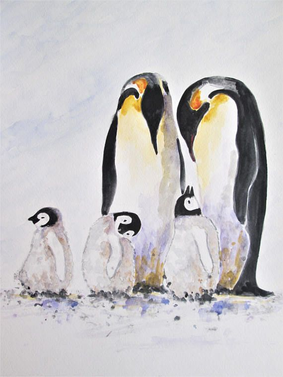 Original Penguin Love Art Emperor Penguin Baby And Parent