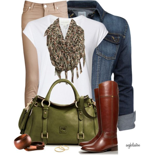 Olive Dooney purse, denim jacket, white tee, leopard scarf, brown riding boots, tan jeans or cords