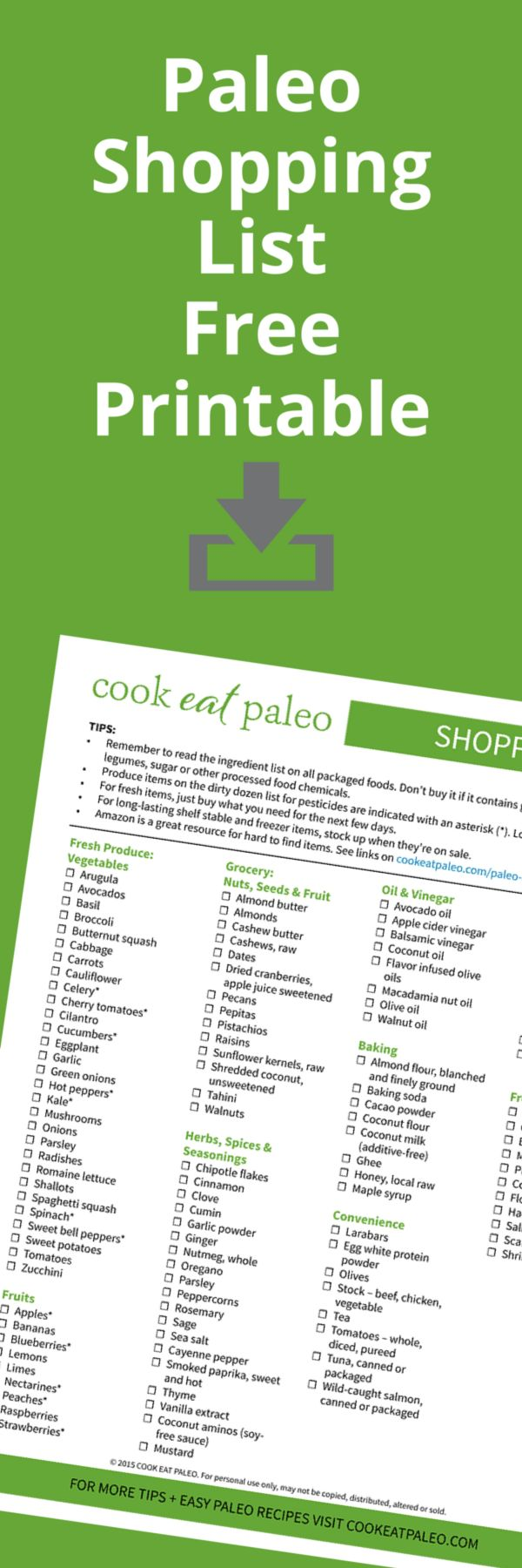 Download the FREE printable Paleo Shopping list and learn how to stock your paleo pantry.