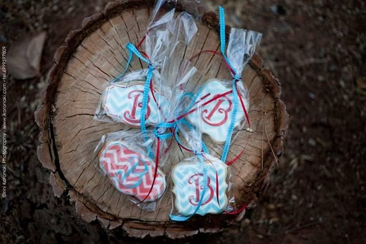 Chevron and monogrammed cookies