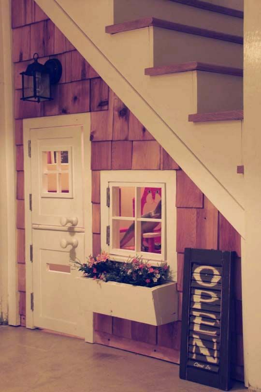 Playhouse under the stairs in the basement...need to do this for my