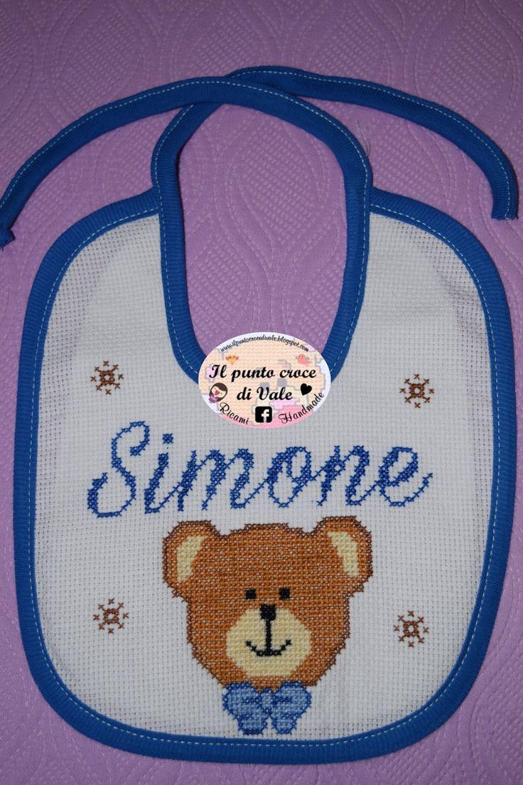 Il terzo ed ultimo bavaglino realizzato per il piccolo Simone. Visita la mia pagina Facebook IL PUNTO CROCE DI VALE.