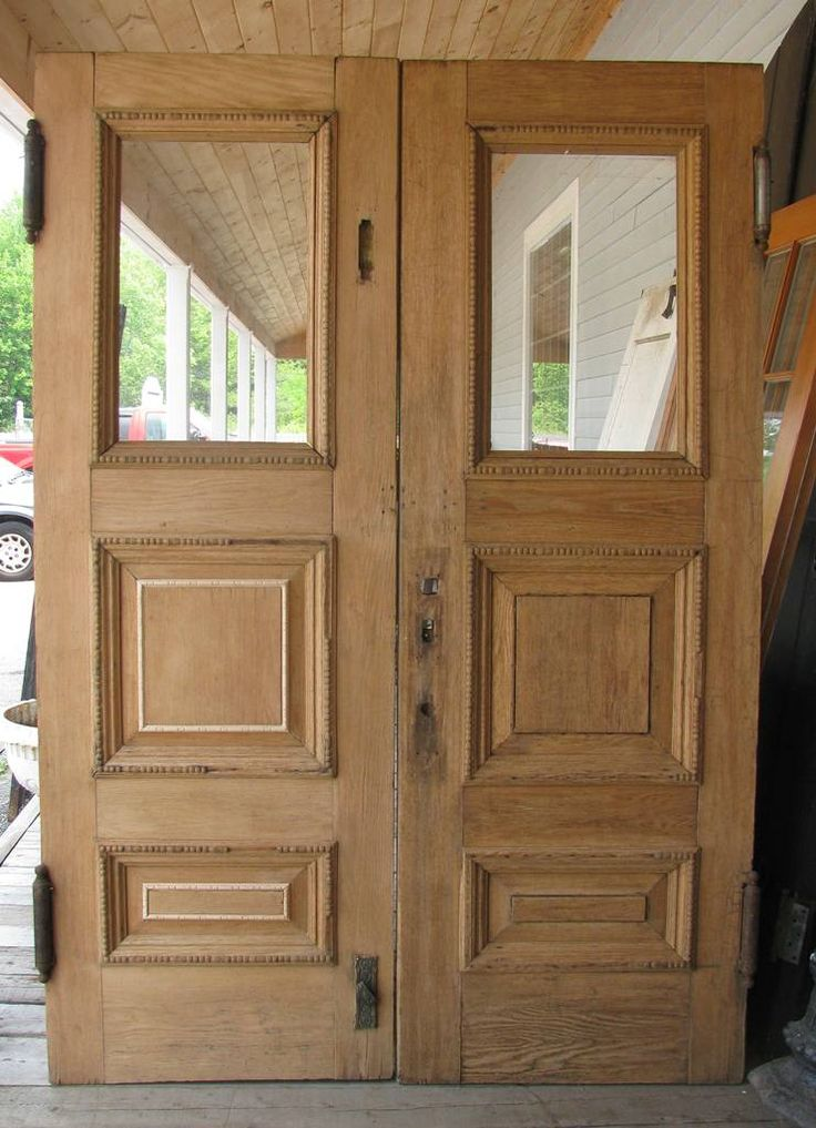 Double Oak Swinging Doors W Hardware Stripped Missing Some Trim Pieces 58 X 82 H