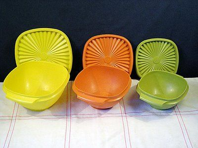 I think my Mom owned just about every Tupperware piece there was made in the 70s in all their colors. She even got toys from Tupperware (the shape sorter ball was my favorite). She used to host Tupperware parties in our home, too (who didn't!). I love Tupperware, but it is too expensive to buy now. I look for good pieces at yard sales and in thrift stores  :)