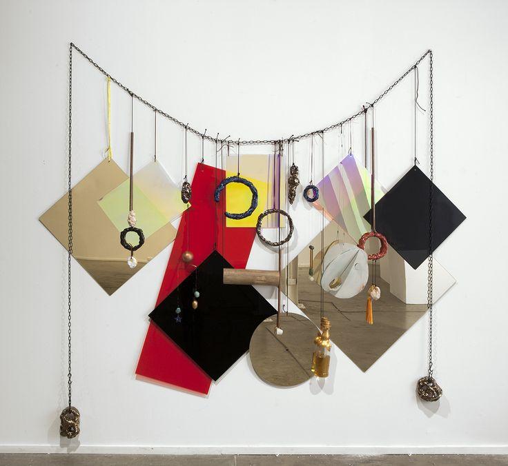 Mikala Dwyer - an Australian artist Wall Necklace, 2013 perspex, nylon, metal, wood, ceramic, glass, whiskey, 230 x…