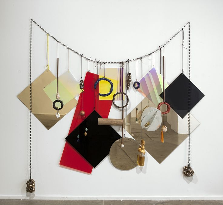 Mikala Dwyer - an Australian artist Wall Necklace, 2013 perspex, nylon, metal, wood, ceramic, glass, whiskey, 230 x…