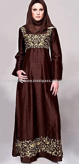 Dark Brown Wedding Abaya For Muslim Women