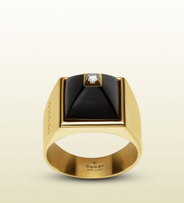 Gucci Ring In 18k In Yellow Gold Diamonds And Black