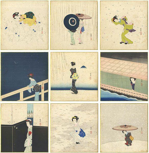 by Komura Settai / 虫、春雨、筑波、夜雨、河岸、月かげ、雪兎、もみじ他 小村雪岱