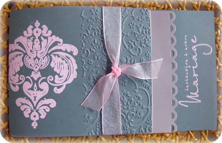 faire part mariage rose et gris corset
