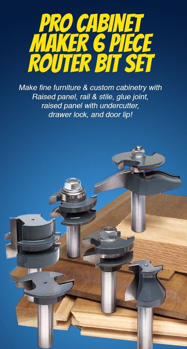 Quality custom cabinets furniture and woodwork - Pro Cabinet Maker 6 Piece Router Bit Set Another High Quality Woodworking Tool From