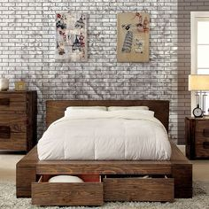 Janeiro II Rustic Natural Tone Platform Bed with Storage ...
