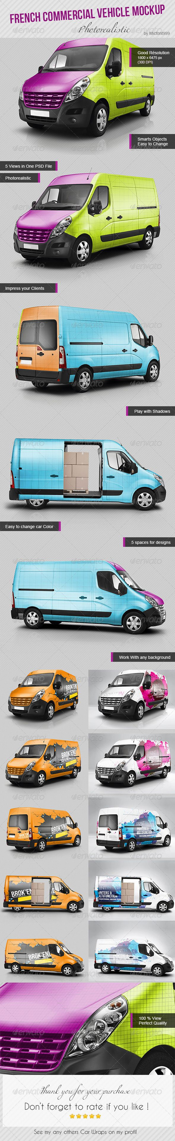 Photorealistic Commercial Van Mockup. Car Wrapping On Photoshop (psd File)  Flocage Du0027
