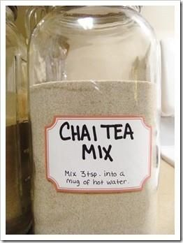 CHAI TEA MIX 1 c. dry powdered milk 1 c. non-dairy powdered coffee creamer 1 c. French Vanilla flavored non-dairy powdered coffee creamer 2 1/2 c. sugar 1 1/2 c. unsweetened instant tea 2 tsps. cinnamon 2 tsp. ginger 1 tsp. cloves 1 tsp. nutmeg Combine .