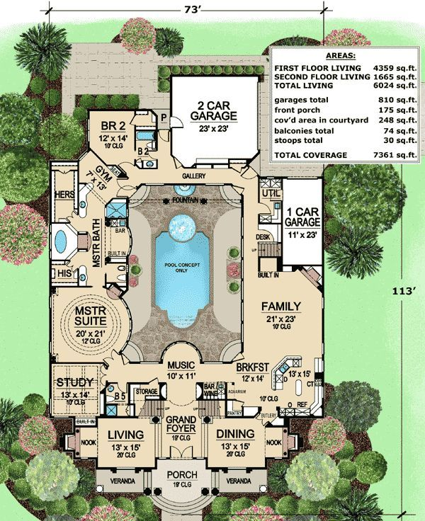 This luxury house plan features a large central courtyard. Pictured below with a pool, it can be viewed from nearly every room in the home.  The grand foyer features a dramatic staircase. Matching rooms flank the foyer and have 20' ceilings.  The master suite has a circular feature with windows looking onto the courtyard. A gym area at the end of the spacious master bath is a nice plus.  A spacious family has a very open feel. An angled door by the Kitchen leads to the courtyard, a great…