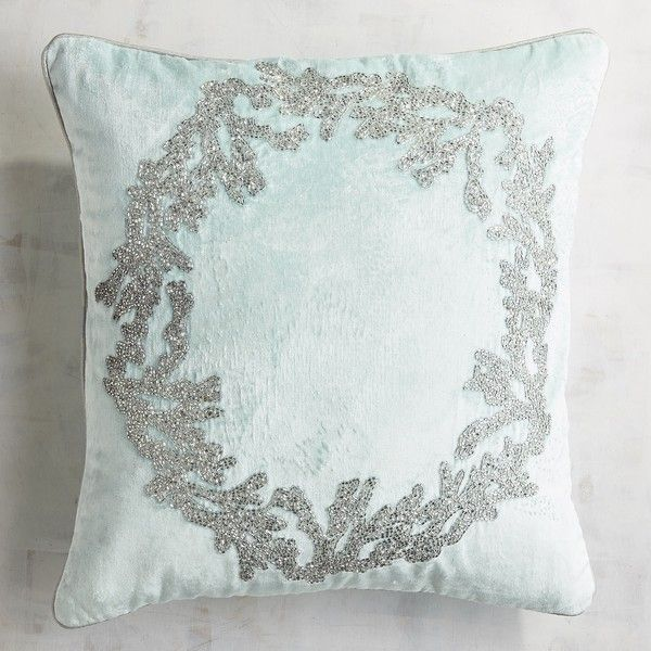 Pier 1 Imports Icy Blue Coral Wreath Pillow (40 CAD) ❤ liked on Polyvore featuring home, home decor, throw pillows, coral accent pillows, beach throw pillows, coral toss pillows, blue throw pillows and coral home accessories