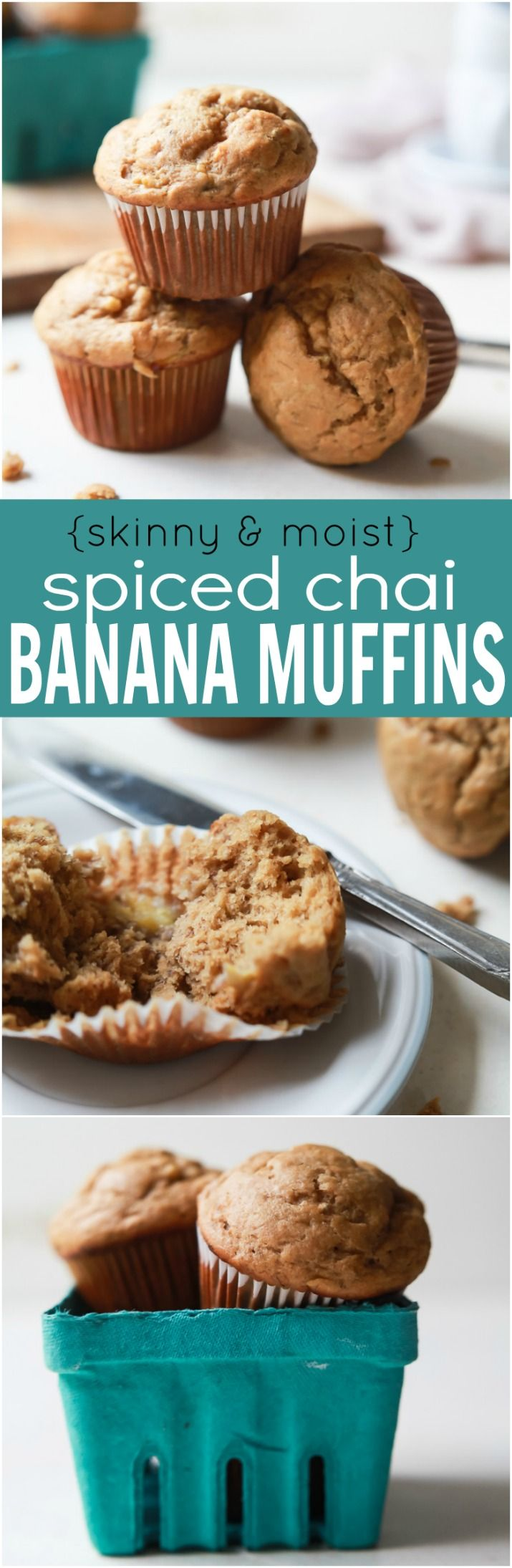 Spiced Chai Banana Muffins with a secret ingredient for an extra nutritional boost. These muffins are butter free, refined sugar free, crazy moist, and absolutely delicious. You and your kids will fall in love!   joyfulhealthyeats.com