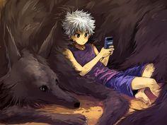Tags: Anime, Nuriko-kun, Hunter x Hunter, Mike (Hunter x Hunter), Killua Zoldyck, Holding Object, Leaning Back