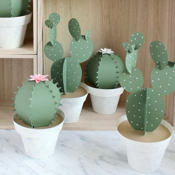 1 3D paper cactus pot in your choice of either a tall cactus or round cactus - the the top part lifts off to reveal that the pot is a secret
