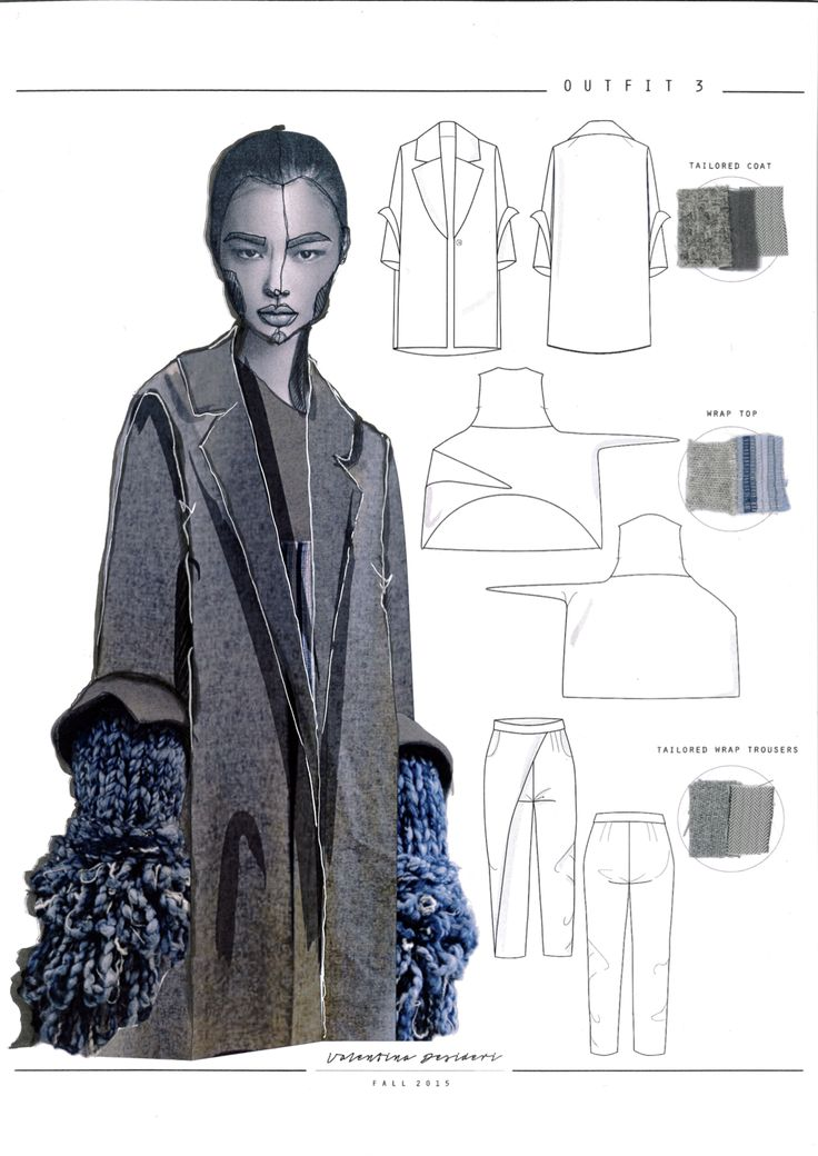 Fashion Sketchbook - knitwear design with reconstructed tailoring; fashion drawings; fashion portfolio // Valentina Desideri