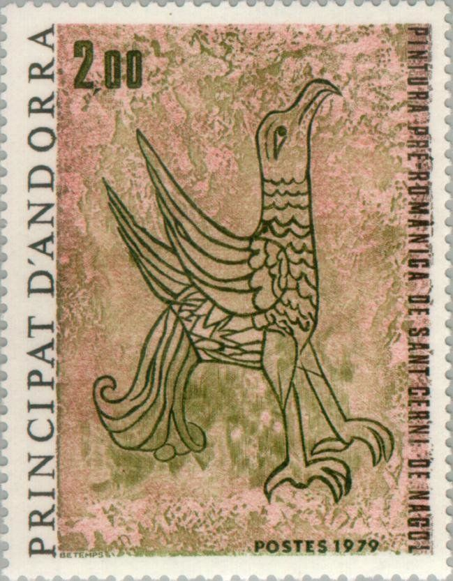 Stamp%3A%20Eagle%20(pre-Romanesque%20fresco%20in%20Sant%20Cerni%20de%20Nagol)%20(Andorra%2C%20French%20Administration)%20(Religious%20art)%20Yt%3AAD-FR%20278%2CMi%3AAD-FR%20299%2CEdi%3AAD-FR%20299%20%23colnect%20%23collection%20%23stamps