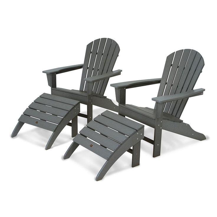 Polywood® 4-piece South Beach Outdoor Adirondack Chair & Ottoman Set, Grey