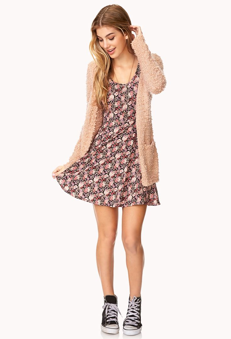 Favorite Fuzzy Cardigan With floral dress and converse =)| FOREVER21
