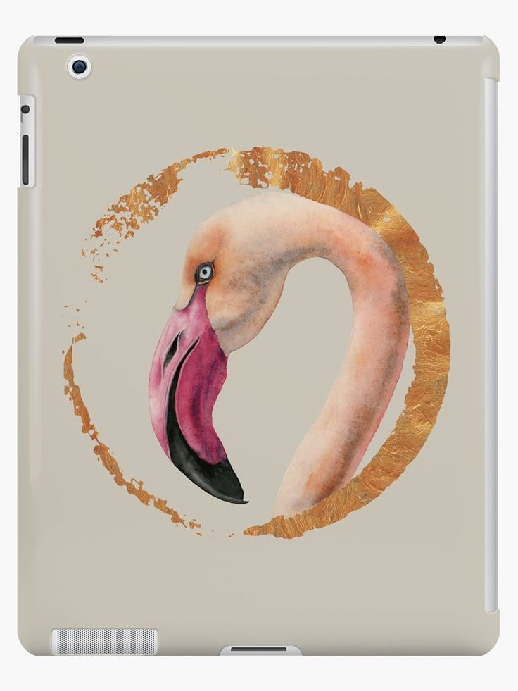 """Pink Lady"" Laptop Case from NamiBear. This is a watercolor painting of a pink flamingo bird. It's a close up of its face. You can see the curvy long neck of the bird. There is a faux metallic gold circle around the bird.    #illustrations #illustration  #gift #gifts #giftideas #giftforher  #animal #animals #bird #birds #flamingo"