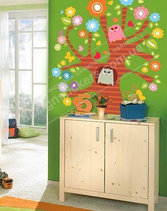 дерево наклейка фото, наклейки для детской комнаты дерево фото, детские интерьерные наклейки дерево фото, наклейки для детской комнаты дер�