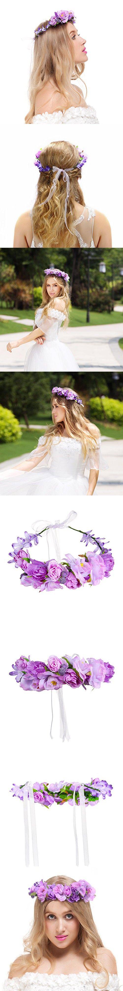 Valdler Exquisite Camellia Berries Flower Crown with Adjustable Ribbon for Wedding Festivals Purple