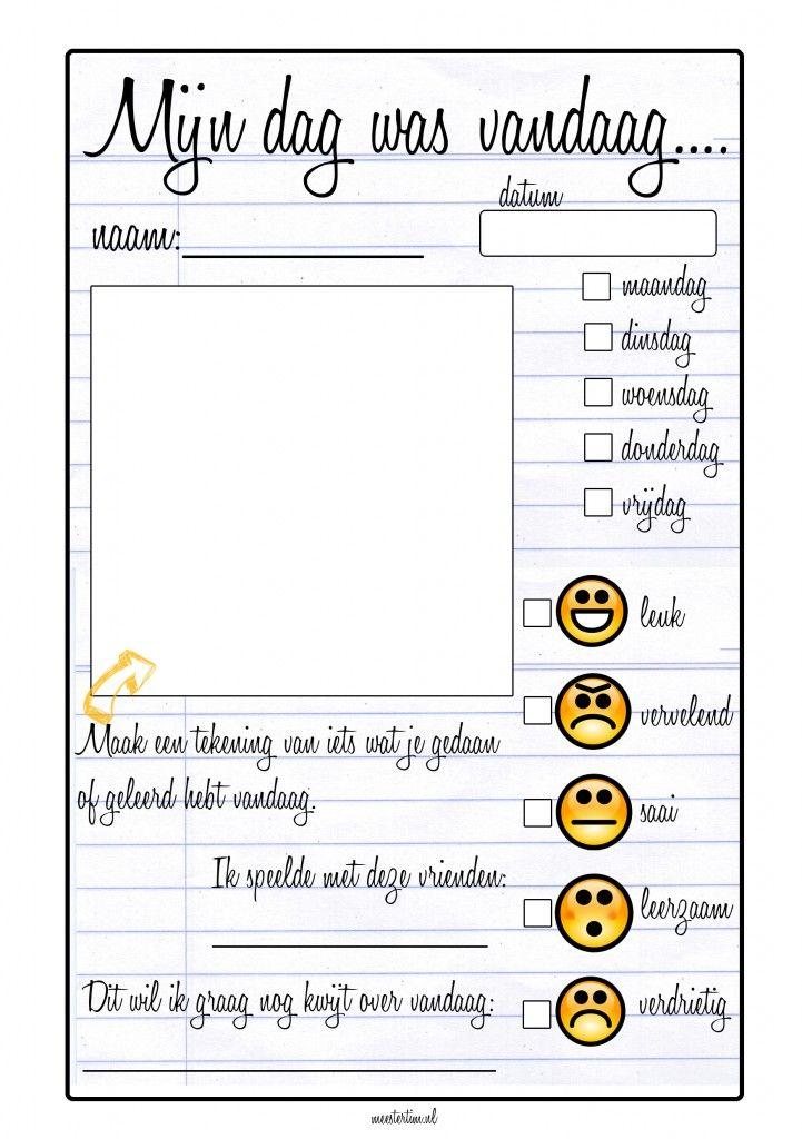 Dagreflectie. Ik denk vooral leuk invullen met kinderen met een sociaal emotioneel handelingsplan.